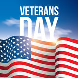 Veterans Day poster, banner USA, American flag background against the blue sky.  Royalty Free Stock Images