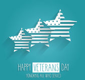 Veterans Day poster. Blue background with handwritten text. Honoring all who served. Vector illustration Stock Images