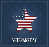 Veterans Day poster on blue background with star Royalty Free Stock Image