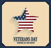 Veterans Day poster with star. Honoring all who served Royalty Free Stock Images