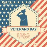 Veterans Day Poster With Us Military Soldier On Grunge Usa Flag Background, National Holiday Card Concept Stock Photo
