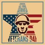 Veterans day poster. Veterans day vintage greeting card. Soldier icon. Veterans day poster. Veterans day vintage style greeting card. Soldier icon Stock Images
