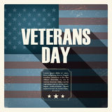 Veterans day poster with worn US flag in the Royalty Free Stock Photos
