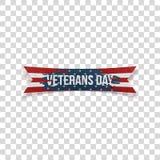 Veterans Day realistic festive textile Ribbon. On transparent Background. Vector Illustration Stock Image