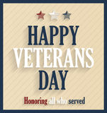 Veterans Day retro poster Stock Images