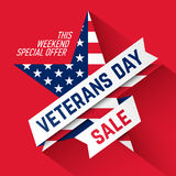 Veterans Day Sale banner Stock Images