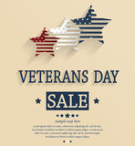 Veterans Day sale card. Red, white and blue stars. Vector illustration Stock Photo