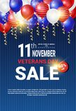 Veterans Day Sale Celebration Shopping Promotions And Price Discount National American Holiday Banner. Vector Illustration stock illustration