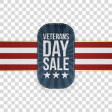 Veterans Day Sale festive Badge with Ribbon. On transparent Background. Vector Illustration Stock Images