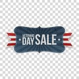Veterans Day Sale festive Banner with Ribbon. On transparent Background. Vector Illustration Royalty Free Stock Image