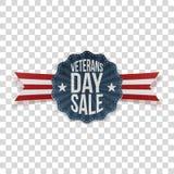 Veterans Day Sale festive Emblem with Ribbon. On transparent Background. Vector Illustration Stock Photos