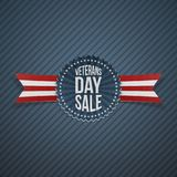 Veterans Day Sale festive Label with Ribbon. Vector Illustration Stock Photography