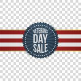Veterans Day Sale festive Sign with Ribbon. On transparent Background. Vector Illustration Royalty Free Stock Photo