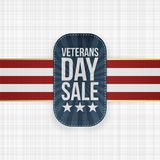 Veterans Day Sale Stamp with Ribbon and Shadow. Vector Illustration Stock Photos