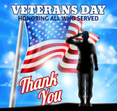 Veterans Day Silhouette Soldier Saluting American Flag Royalty Free Stock Photography