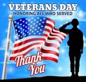 Veterans Day Soldier Saluting American Flag Stock Illustration