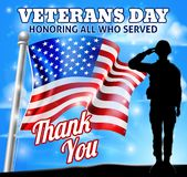 Veterans Day Soldier Saluting American Flag. A patriotic soldier saluting with an American flag Veterans Day Honoring All who Served, Thank You background design stock illustration