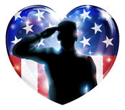 Veterans day soldier or 4th July concept. Illustration of a heart shape Veterans Day or 4th July Independence Day of a soldier saluting in front of American flag royalty free illustration
