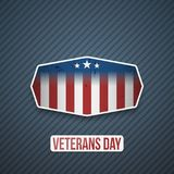 Veterans Day Text on realistic Badge. Vector Illustration Stock Photo
