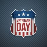 Veterans Day Text on realistic Shield. Vector Illustration Royalty Free Stock Photos