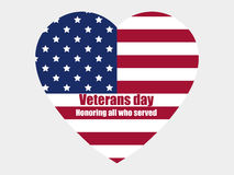 Veterans day 11th November. Honoring all who served. Heart with the American flag. Vector Stock Photography