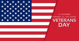 Veterans Day. 11th of November. Honoring all who served. Usa fla vector illustration