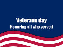 Veterans day 11th November. Honoring all who served. Veterans day greeting card with American flag. Vector Royalty Free Stock Photo