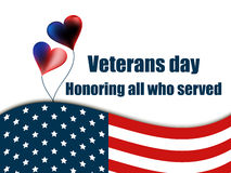 Veterans day 11th November. Honoring all who served. Veterans day greeting card with balloons and the American flag. Vector Royalty Free Stock Images