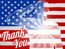Veterans Day Thank You American Flag. A soldier saluting with American Flag in the background with Thank You, design for Memorial Day or Veterans Day Stock Photos