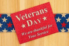 Veterans Day thank you type message on glitter red greeting card