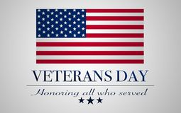 Veterans day background. United States flag with text: Veterans Day stock illustration