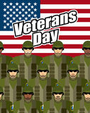 Veterans Day. United States military against backdrop of America Stock Images