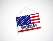 Veterans day us hanging flag illustration Stock Photos