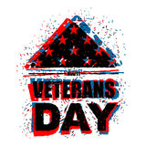 Veterans Day in USA. Flag America folded in triangle symbol of m. Ourning. National sign of United States of sorrow. Emblem in grunge style for patriotic holiday Stock Photos