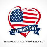 Veterans day USA heart emblem in national flag colors Stock Photo