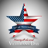 Veterans Day of USA with star in national flag colors american flag. Honoring all who served. Vector illustration.  royalty free illustration