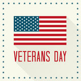 Veterans Day. Vector Illustration. Text and American Flag with Shadows and Stars vector illustration