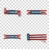Veterans Day vector Ribbons Set. On transparent Background Stock Photography