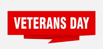 Veterans day. Sign.  paper origami speech bubble.  tag.  banner stock illustration