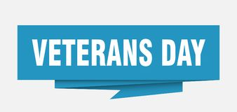 Veterans day. Sign.  paper origami speech bubble.  tag.  banner royalty free illustration