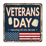 Veterans day vintage metal sign. Veterans day vintage rusty metal sign on a white background, vector illustration Stock Images