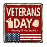 Veterans day vintage metal sign. Veterans day vintage rusty metal sign on a white background, vector illustration Royalty Free Stock Photos
