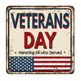 Veterans day vintage metal sign. Veterans day vintage rusty metal sign on a white background, vector illustration Royalty Free Stock Photography