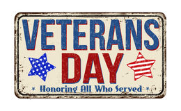 Veterans day vintage metal sign Stock Images