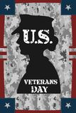 Veterans day vintage poster. With pixel camouflage Stock Photos