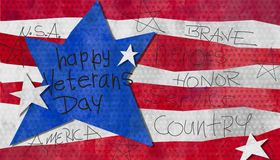 Veterans day watercolor. Happy veterans day watercolor kids art design with red white and blue home of the brave love honor country America stock illustration