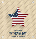 Veterans Day wooden texture background poster. Honoring all who served. Vector illustration Stock Photos