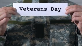Veterans day written on paper in hands of male soldier, memory of heroes. Stock footage stock video