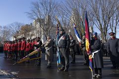 Veterans from different regiments and Royal Canadian Mounted Policemen at the Remembrance Day Ceremony royalty free stock photos