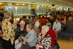 Veterans, disabled and elderly people, pensioners, spectators of the charity concert. Royalty Free Stock Photos